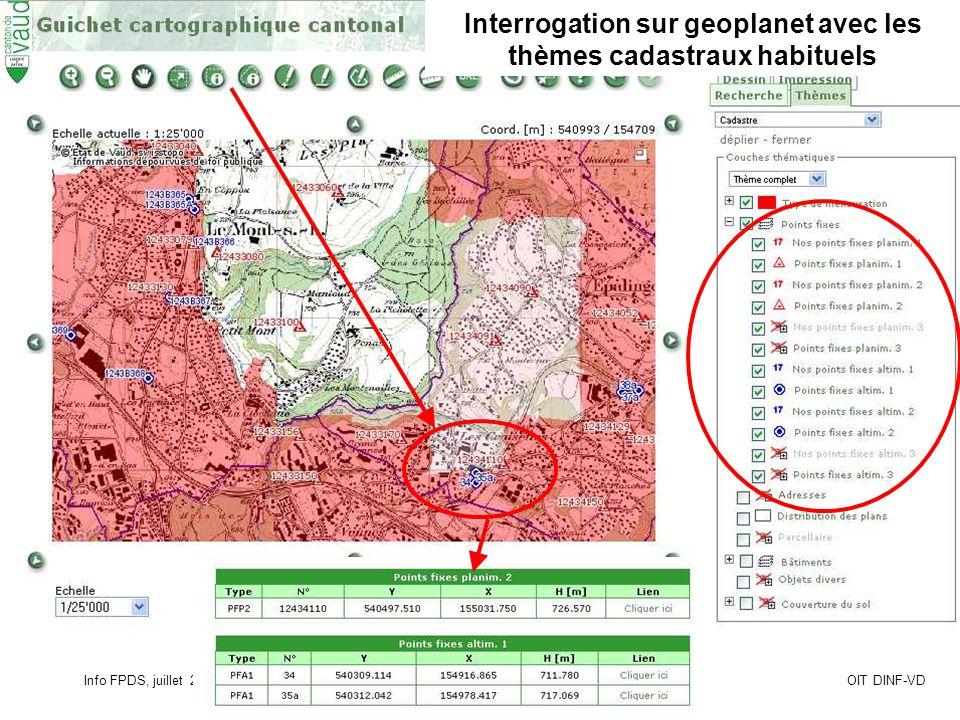 Info FPDS, juillet 2010Page 13OIT DINF-VD Interrogation sur geoplanet avec les thèmes cadastraux habituels