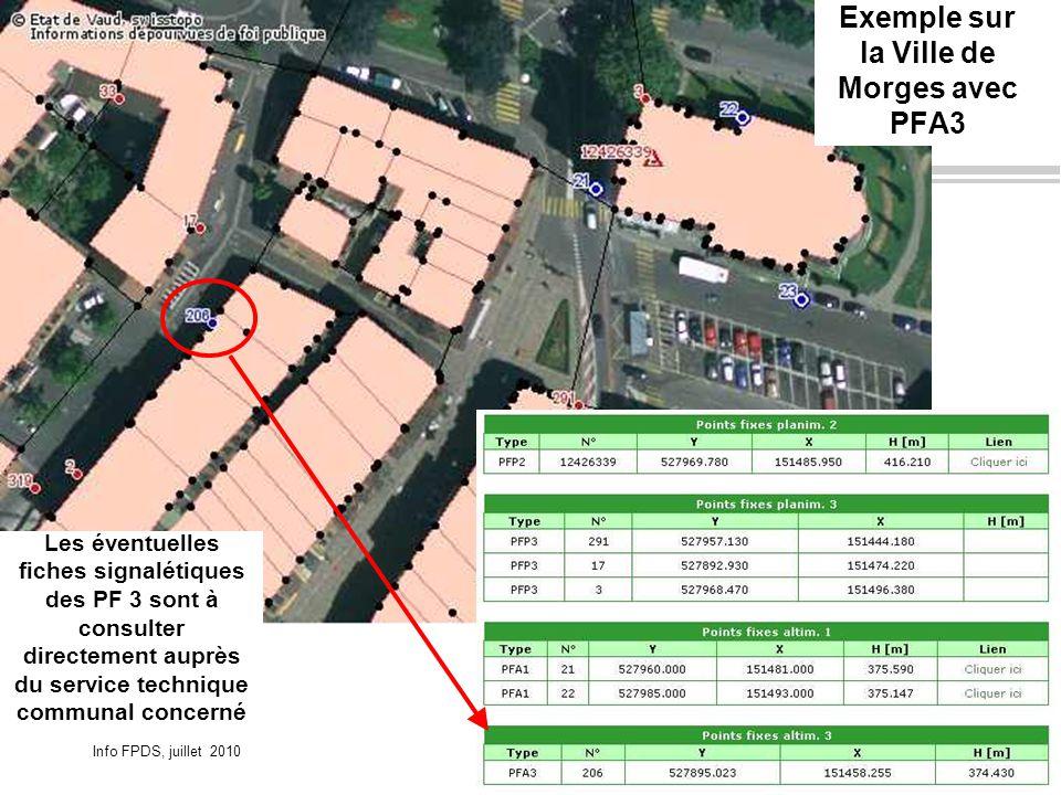 Info FPDS, juillet 2010Page 15OIT DINF-VD Exemple sur la Ville de Morges avec PFA3 Les éventuelles fiches signalétiques des PF 3 sont à consulter directement auprès du service technique communal concerné