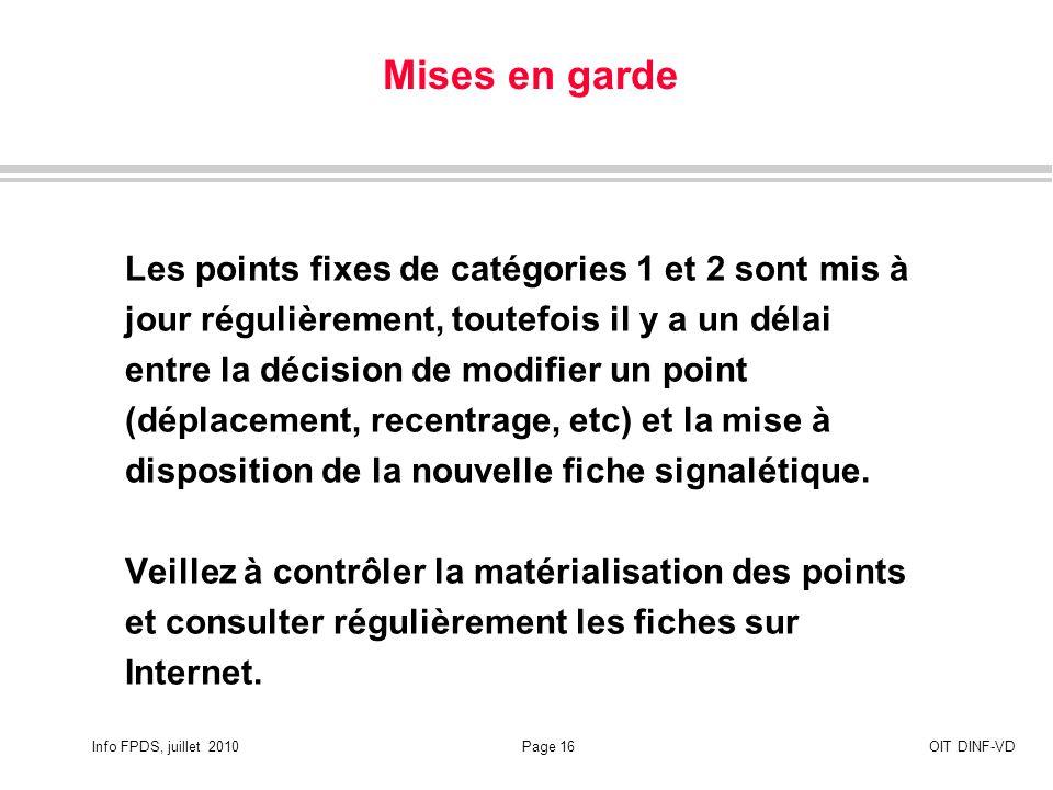 Info FPDS, juillet 2010Page 16OIT DINF-VD Mises en garde Les points fixes de catégories 1 et 2 sont mis à jour régulièrement, toutefois il y a un délai entre la décision de modifier un point (déplacement, recentrage, etc) et la mise à disposition de la nouvelle fiche signalétique.