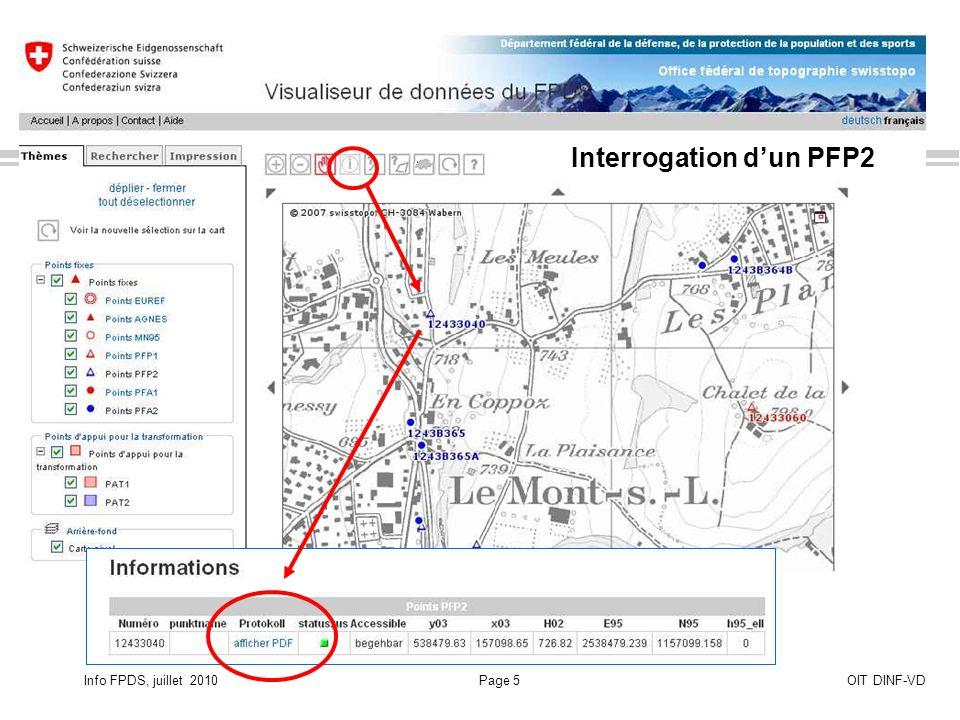 Info FPDS, juillet 2010Page 5OIT DINF-VD Interrogation dun PFP2