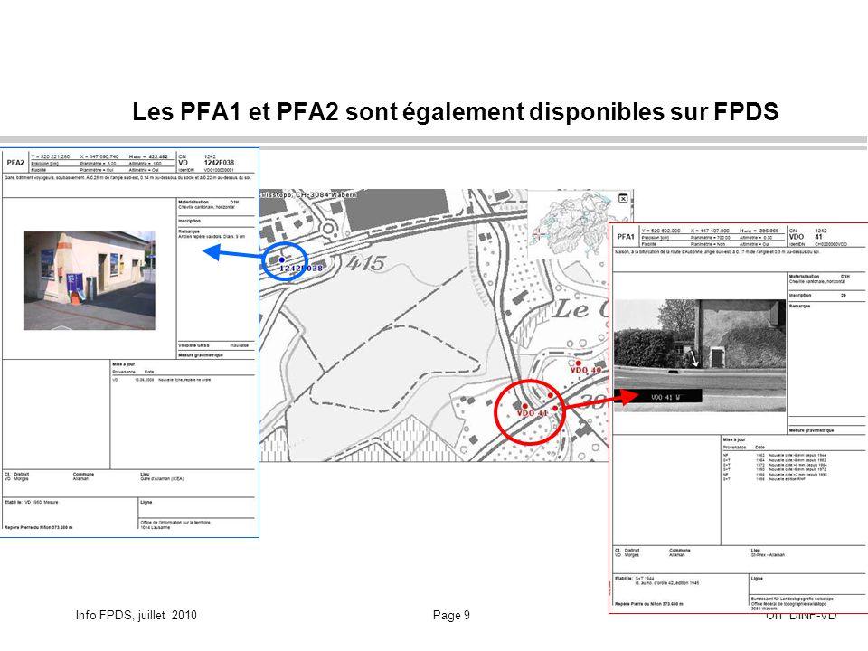 Info FPDS, juillet 2010Page 10OIT DINF-VD Attention de tenir compte des attributs de précision indiqués et d interpréter correctement tous les attributs liés à ces points … Liens URL sur les métadonnées : Dans ce cas la coordonnée planimétrique de ce point de nivellement fédéral nest pas bien définie