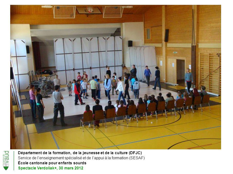 Département de la formation, de la jeunesse et de la culture (DFJC) Service de lenseignement spécialisé et de lappui à la formation (SESAF) École cantonale pour enfants sourds Spectacle Verdoliak+, 30 mars 2012