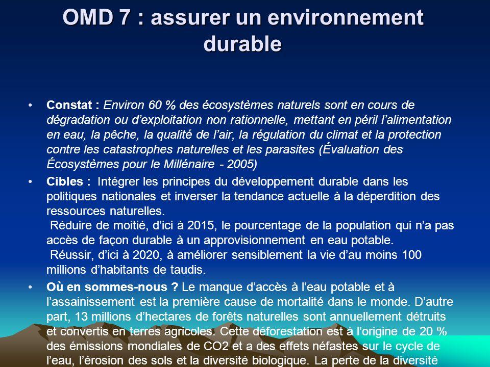 OMD 7 : assurer un environnement durable Constat : Environ 60 % des écosystèmes naturels sont en cours de dégradation ou dexploitation non rationnelle