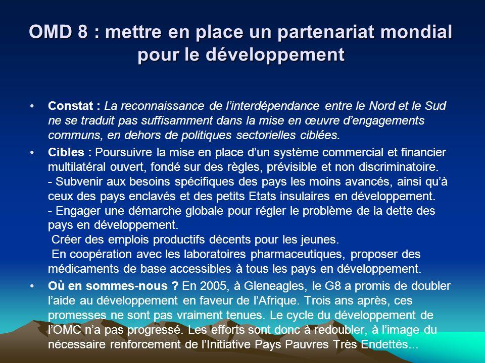 OMD 8 : mettre en place un partenariat mondial pour le développement Constat : La reconnaissance de linterdépendance entre le Nord et le Sud ne se tra
