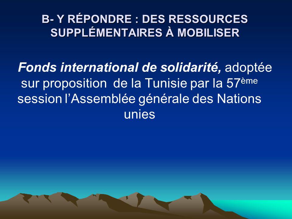 B- Y RÉPONDRE : DES RESSOURCES SUPPLÉMENTAIRES À MOBILISER Fonds international de solidarité, adoptée sur proposition de la Tunisie par la 57 ème sess