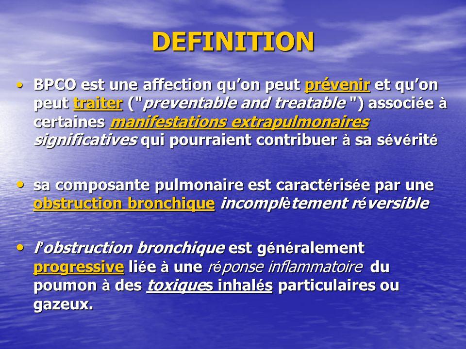 DEFINITION BPCO est une affection quon peut prévenir et quon peut traiter (