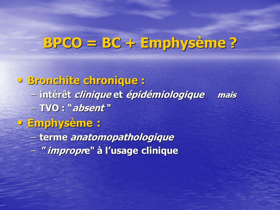 BPCO = BC + Emphysème ? Bronchite chronique : Bronchite chronique : –intérêt clinique et épidémiologique mais –TVO : absent