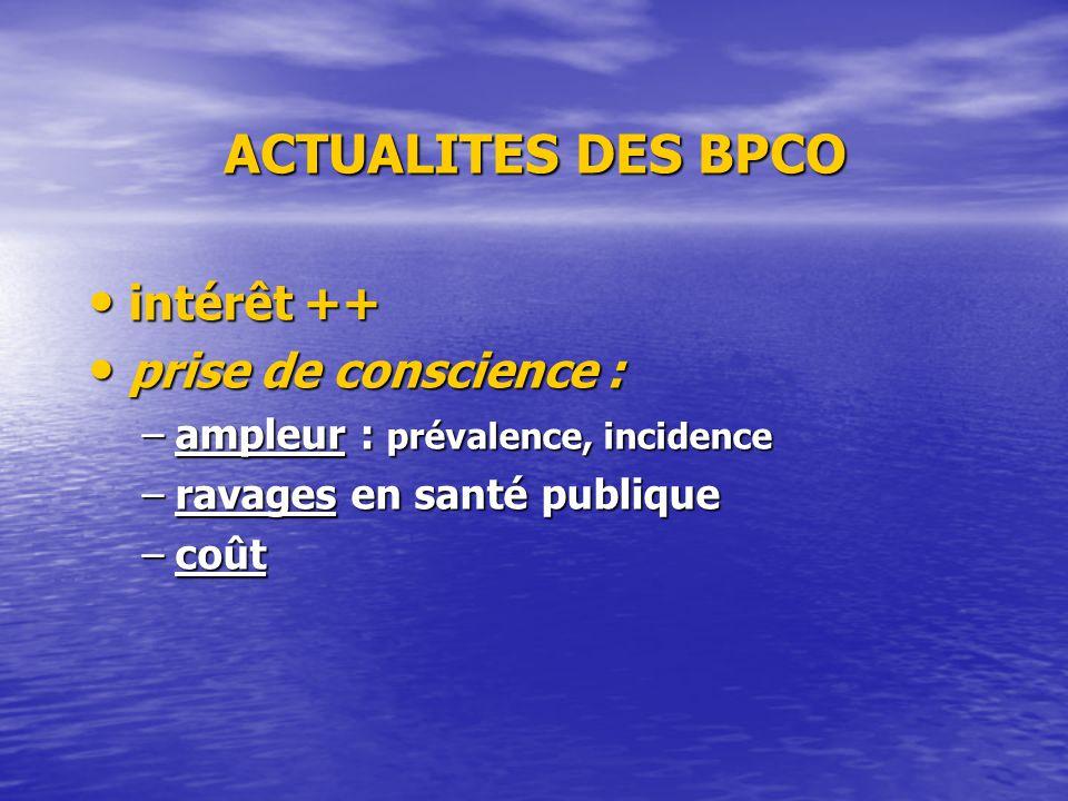 ACTUALITES DES BPCO intérêt ++ intérêt ++ prise de conscience : prise de conscience : –ampleur : prévalence, incidence –ravages en santé publique –coû