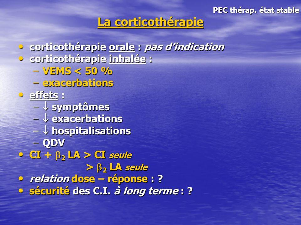 La corticothérapie corticothérapie orale : pas dindication corticothérapie orale : pas dindication corticothérapie inhalée : corticothérapie inhalée :