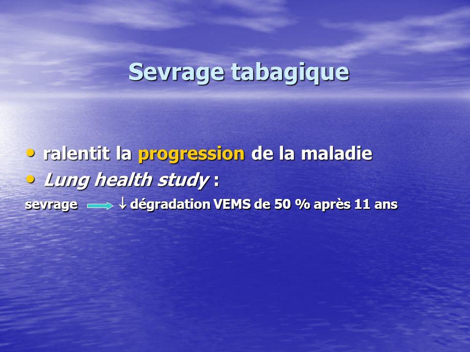 Sevrage tabagique ralentit la progression de la maladie ralentit la progression de la maladie Lung health study : Lung health study : sevrage dégradat