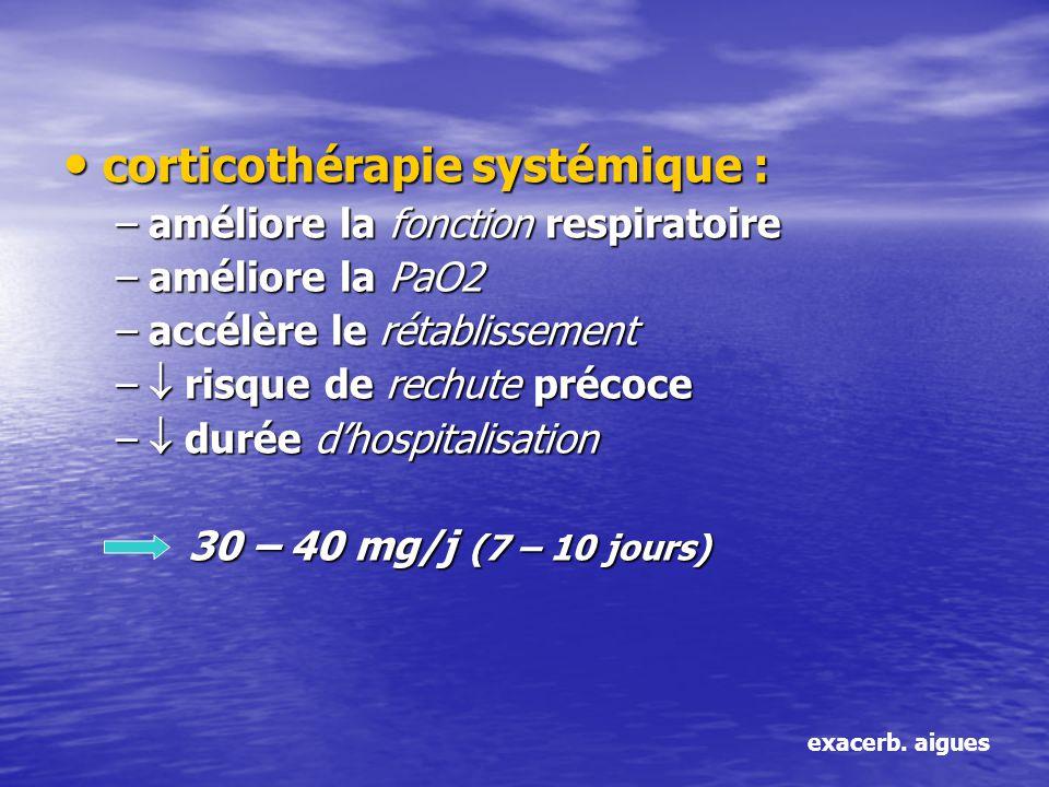 corticothérapie systémique : corticothérapie systémique : –améliore la fonction respiratoire –améliore la PaO2 –accélère le rétablissement – risque de