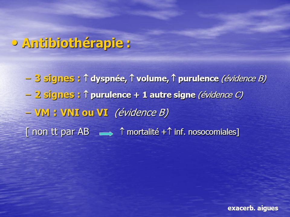 Antibiothérapie : Antibiothérapie : –3 signes : dyspnée, volume, purulence (évidence B) –2 signes : purulence + 1 autre signe (évidence C) –VM : VNI o