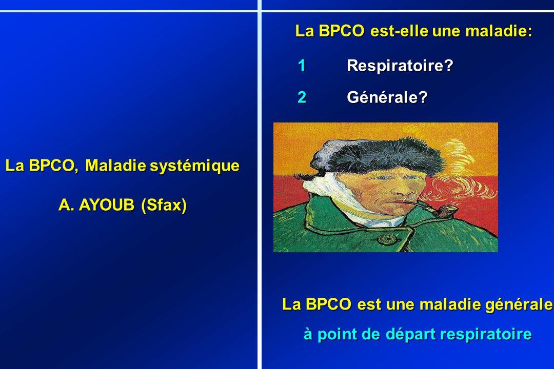 La BPCO est-elle une maladie: 1Respiratoire? 2Générale? La BPCO est une maladie générale à point de départ respiratoire La BPCO, Maladie systémique A.