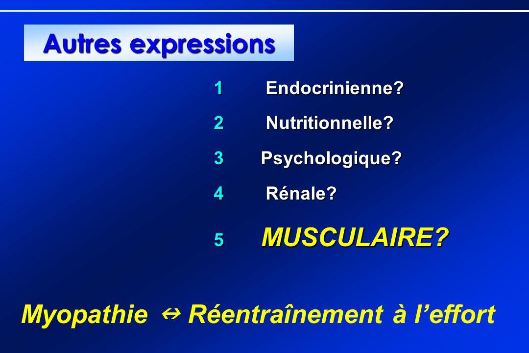 1 Endocrinienne? 2 Nutritionnelle? 3Psychologique? 4 Rénale? 5 MUSCULAIRE? Myopathie Réentraînement à leffort Autres expressions