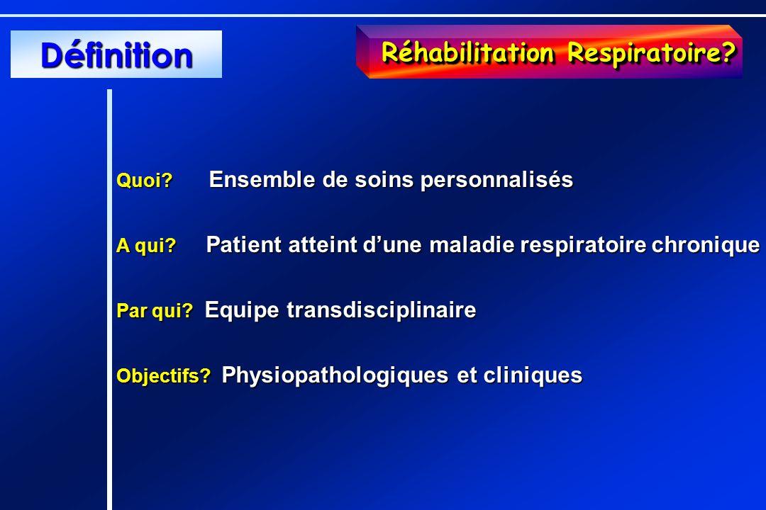 Réhabilitation Respiratoire? Quoi? Ensemble de soins personnalisés A qui? Patient atteint dune maladie respiratoire chronique Par qui? Equipe transdis