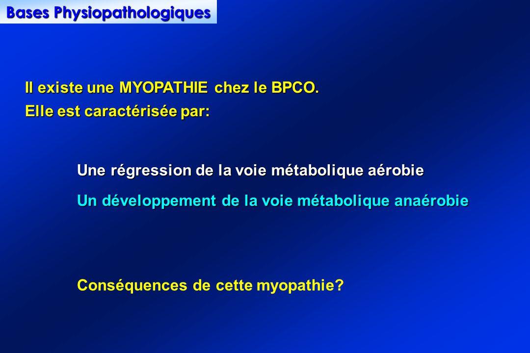 Il existe une MYOPATHIE chez le BPCO. Elle est caractérisée par: Une régression de la voie métabolique aérobie Un développement de la voie métabolique