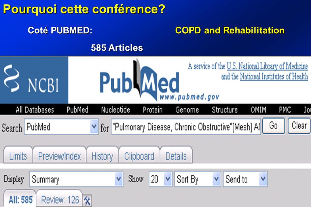 Pourquoi cette conférence? Coté PUBMED: COPD and Rehabilitation 585 Articles