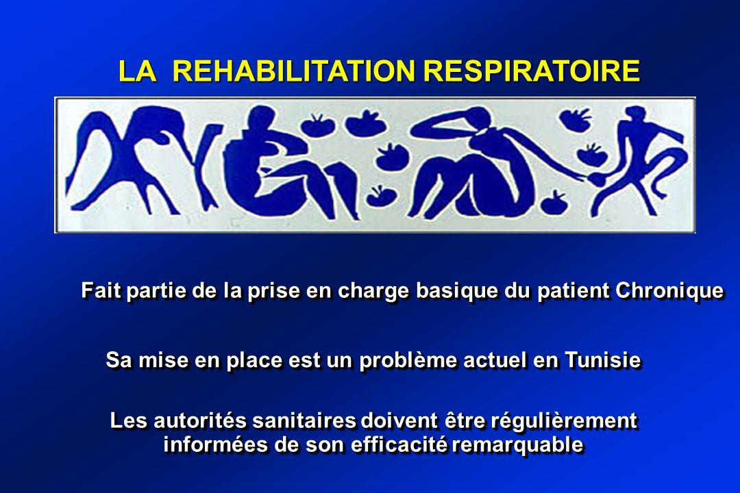 Fait partie de la prise en charge basique du patient Chronique LA REHABILITATION RESPIRATOIRE Sa mise en place est un problème actuel en Tunisie Les autorités sanitaires doivent être régulièrement informées de son efficacité remarquable