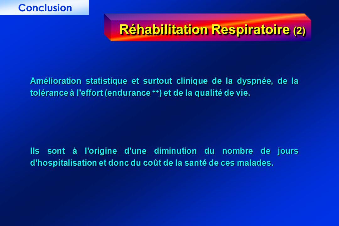 Réhabilitation Respiratoire (2) Amélioration statistique et surtout clinique de la dyspnée, de la tolérance à l'effort (endurance ++ ) et de la qualit