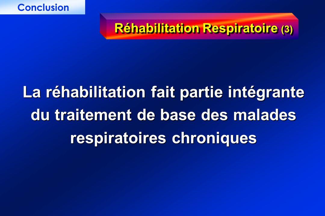 Réhabilitation Respiratoire (3) La réhabilitation fait partie intégrante du traitement de base des malades respiratoires chroniques Conclusion