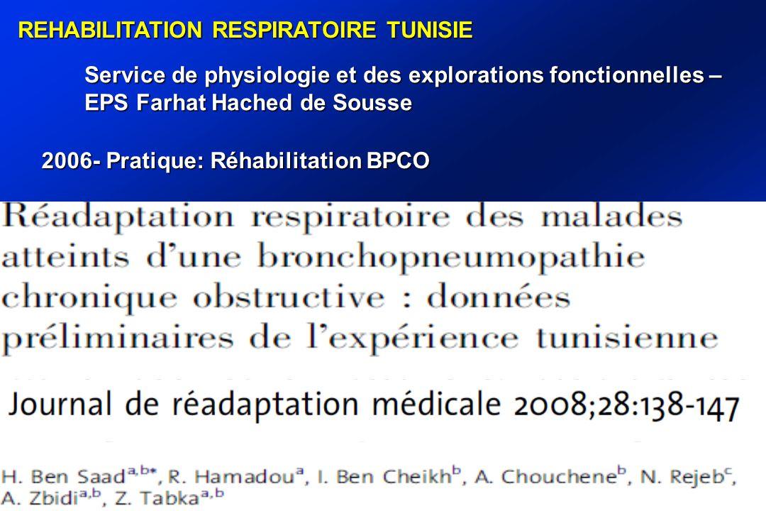 REHABILITATION RESPIRATOIRE TUNISIE Service de physiologie et des explorations fonctionnelles – EPS Farhat Hached de Sousse 2006- Pratique: Réhabilitation BPCO
