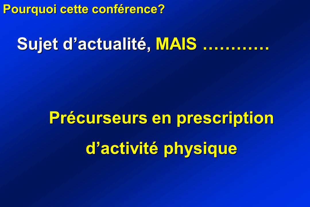 Sujet dactualité, MAIS ………… Pourquoi cette conférence? Précurseurs en prescription dactivité physique