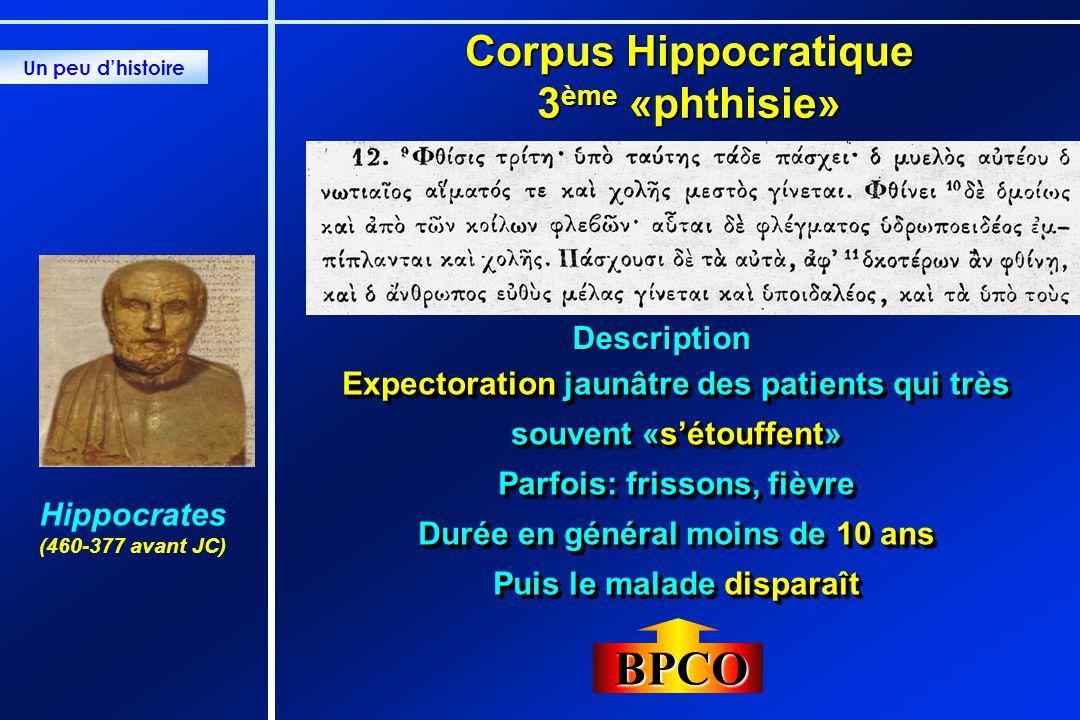 Corpus Hippocratique 3 ème «phthisie» Expectoration jaunâtre des patients qui très souvent «sétouffent» Parfois: frissons, fièvre Durée en général moi