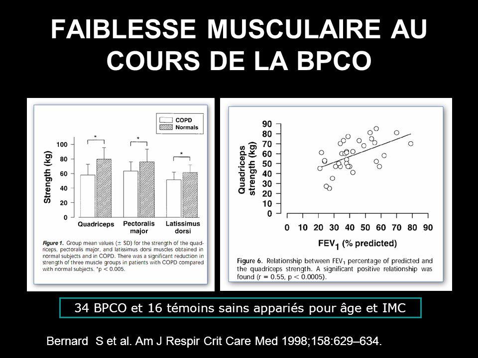 FAIBLESSE MUSCULAIRE AU COURS DE LA BPCO Bernard S et al. Am J Respir Crit Care Med 1998;158:629–634. 34 BPCO et 16 témoins sains appariés pour âge et