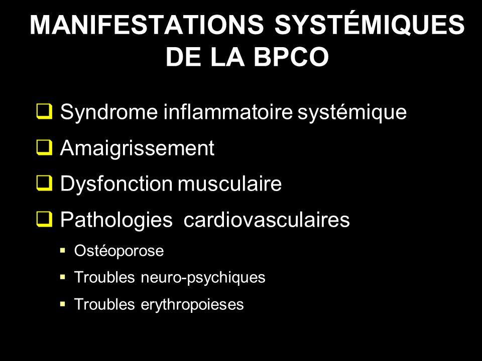 MANIFESTATIONS SYSTÉMIQUES DE LA BPCO Syndrome inflammatoire systémique Amaigrissement Dysfonction musculaire Pathologies cardiovasculaires Ostéoporos