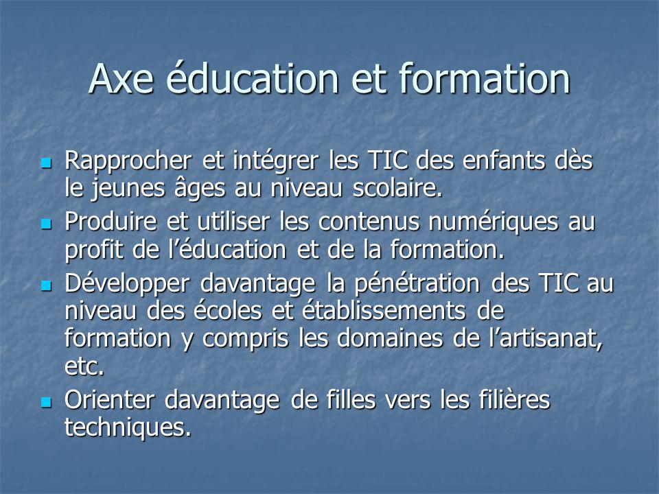 Axe éducation et formation Rapprocher et intégrer les TIC des enfants dès le jeunes âges au niveau scolaire.
