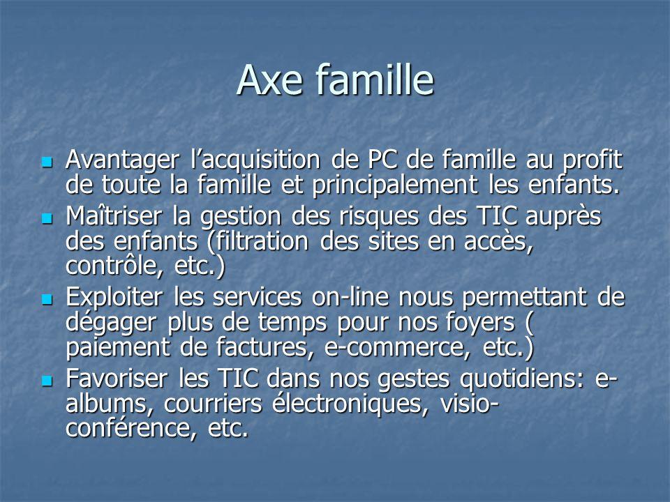 Axe famille Avantager lacquisition de PC de famille au profit de toute la famille et principalement les enfants.