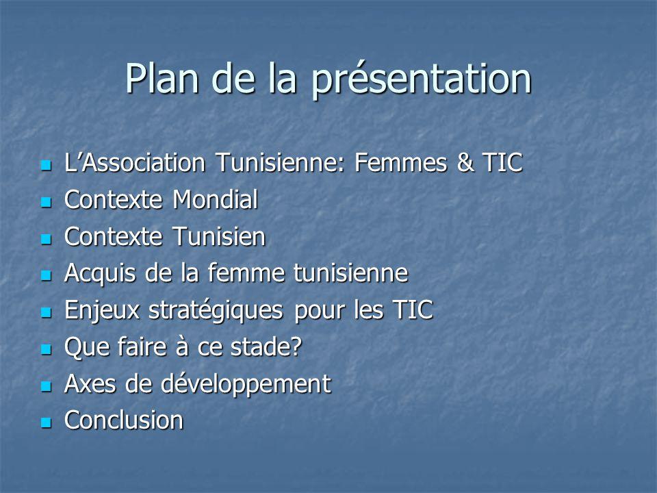 Plan de la présentation LAssociation Tunisienne: Femmes & TIC LAssociation Tunisienne: Femmes & TIC Contexte Mondial Contexte Mondial Contexte Tunisien Contexte Tunisien Acquis de la femme tunisienne Acquis de la femme tunisienne Enjeux stratégiques pour les TIC Enjeux stratégiques pour les TIC Que faire à ce stade.