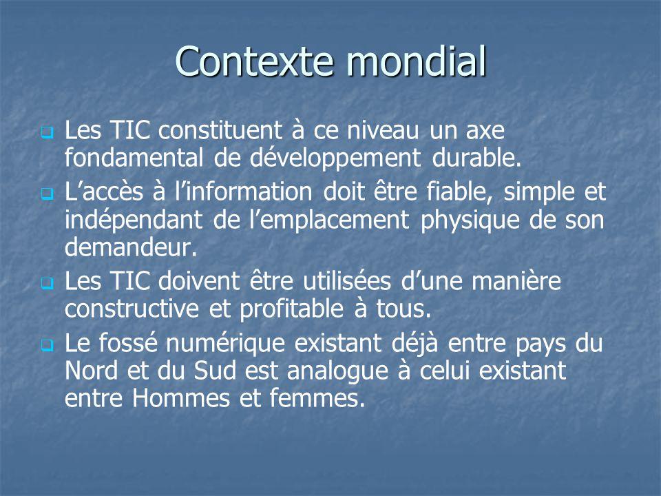 Contexte mondial Les TIC constituent à ce niveau un axe fondamental de développement durable.