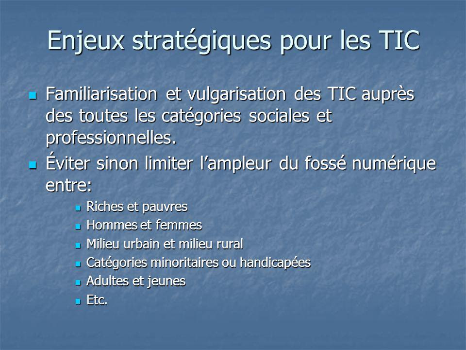 Enjeux stratégiques pour les TIC Familiarisation et vulgarisation des TIC auprès des toutes les catégories sociales et professionnelles.