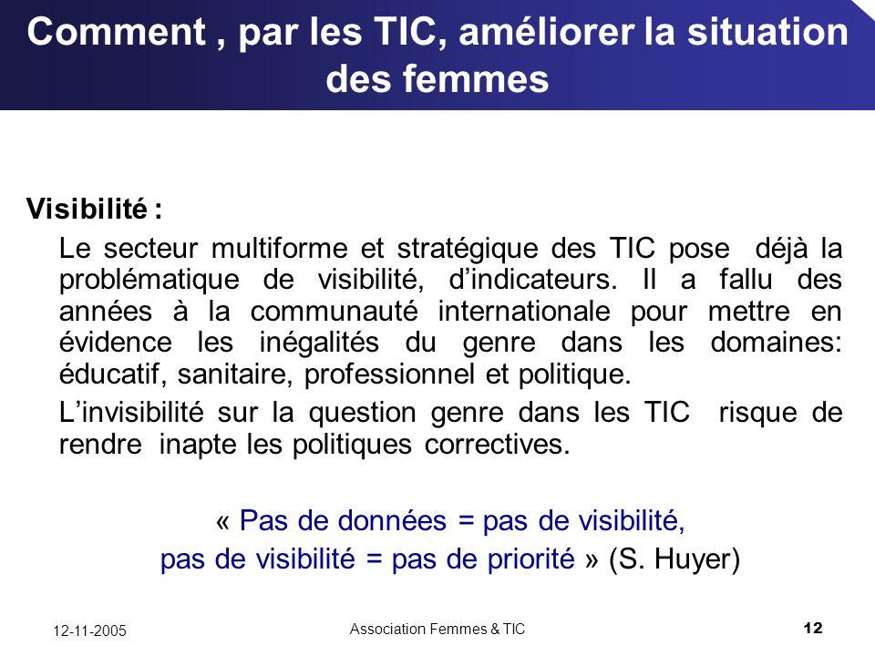 Association Femmes & TIC12 12-11-2005 Comment, par les TIC, améliorer la situation des femmes Visibilité : Le secteur multiforme et stratégique des TIC pose déjà la problématique de visibilité, dindicateurs.