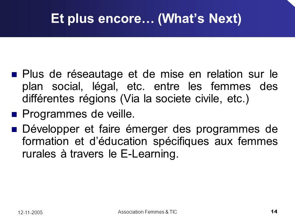 Association Femmes & TIC14 12-11-2005 Et plus encore… (Whats Next) Plus de réseautage et de mise en relation sur le plan social, légal, etc.