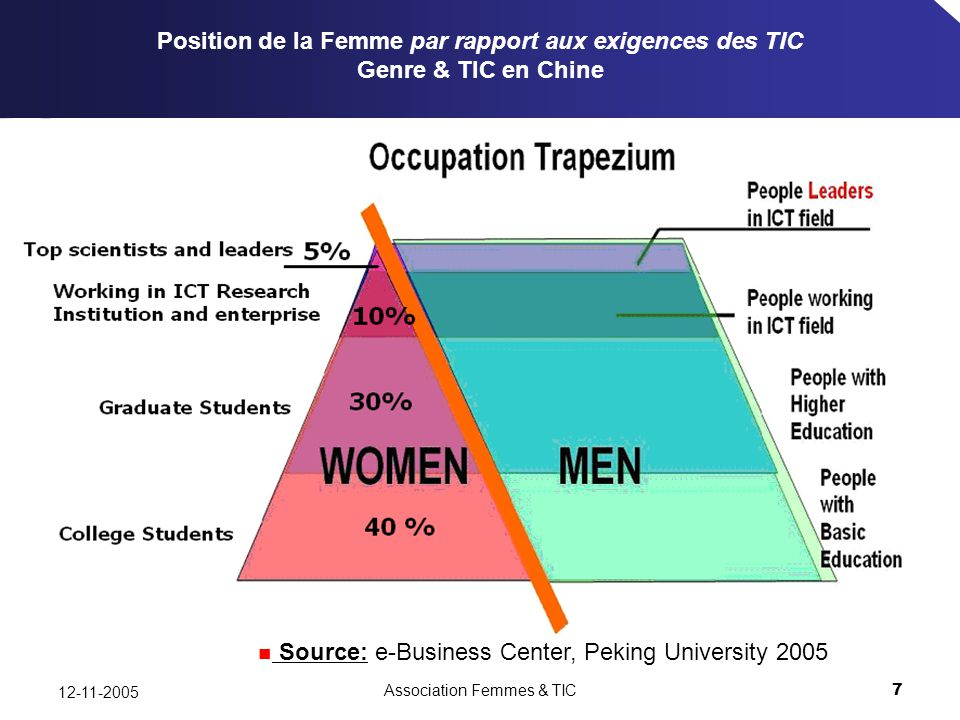 Association Femmes & TIC7 12-11-2005 Source: e-Business Center, Peking University 2005 Position de la Femme par rapport aux exigences des TIC Genre & TIC en Chine