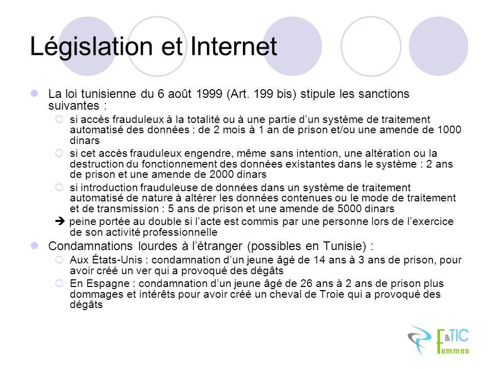 Législation et Internet La loi tunisienne du 6 août 1999 (Art. 199 bis) stipule les sanctions suivantes : si accès frauduleux à la totalité ou à une p