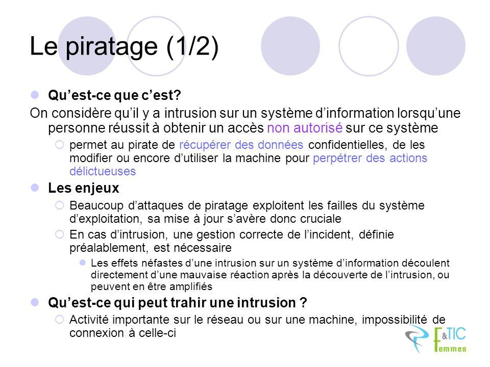 Le piratage (1/2) Quest-ce que cest? On considère quil y a intrusion sur un système dinformation lorsquune personne réussit à obtenir un accès non aut