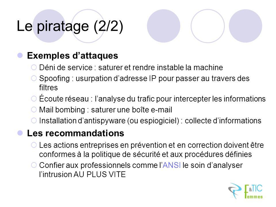 Le piratage (2/2) Exemples dattaques Déni de service : saturer et rendre instable la machine Spoofing : usurpation dadresse IP pour passer au travers