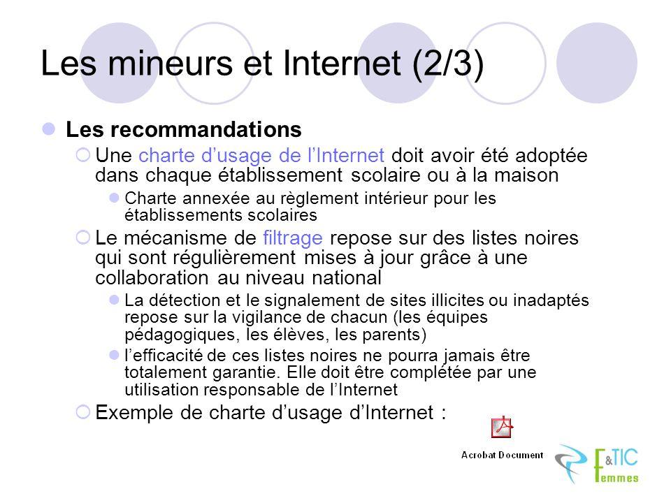 Les mineurs et Internet (2/3) Les recommandations Une charte dusage de lInternet doit avoir été adoptée dans chaque établissement scolaire ou à la mai