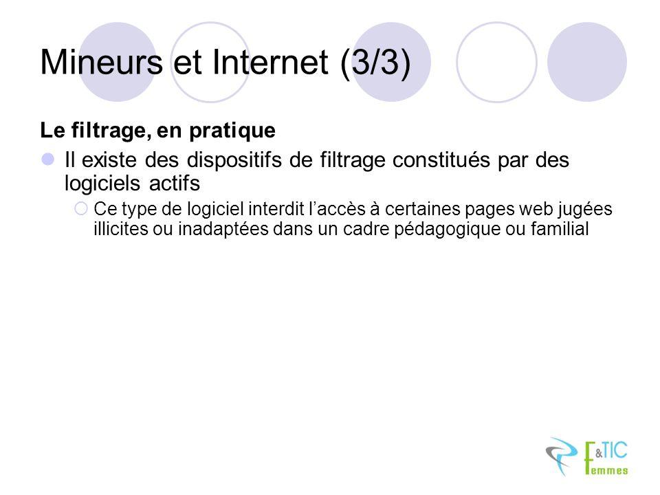 Mineurs et Internet (3/3) Le filtrage, en pratique Il existe des dispositifs de filtrage constitués par des logiciels actifs Ce type de logiciel interdit laccès à certaines pages web jugées illicites ou inadaptées dans un cadre pédagogique ou familial