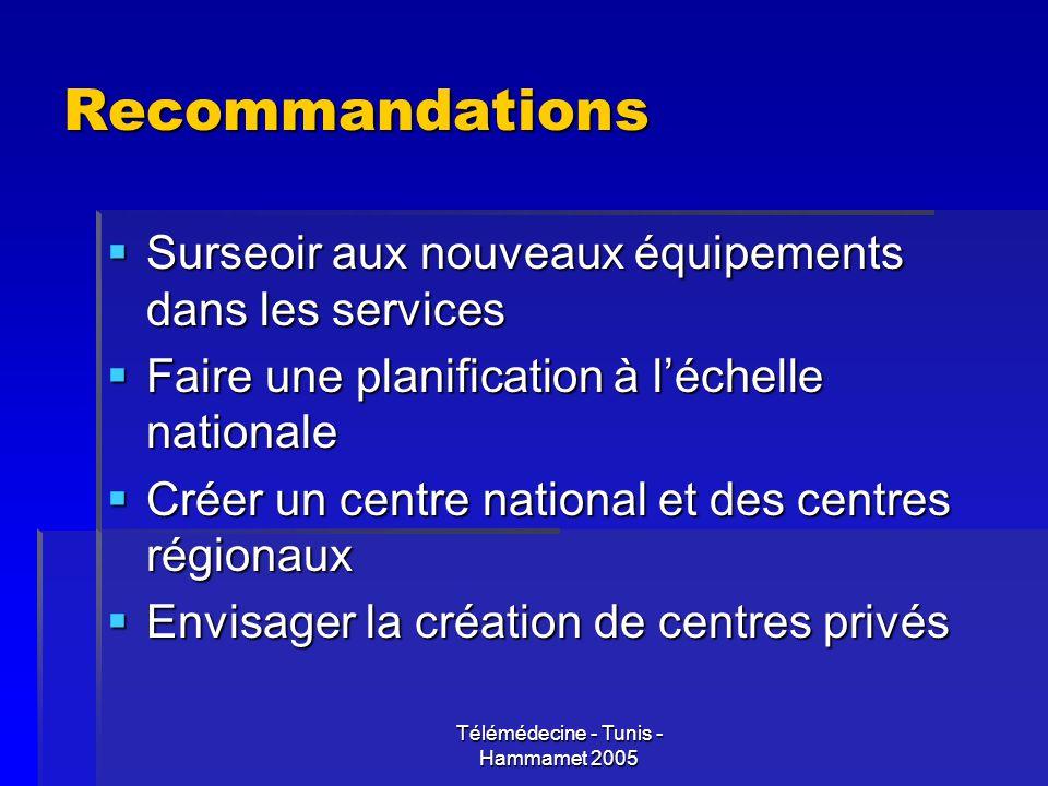 Télémédecine - Tunis - Hammamet 2005 Recommandations Surseoir aux nouveaux équipements dans les services Surseoir aux nouveaux équipements dans les se