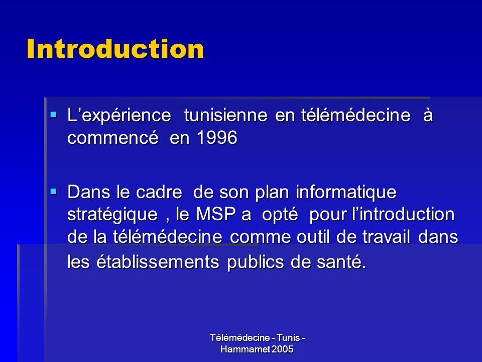 Télémédecine - Tunis - Hammamet 2005 Introduction Lexpérience tunisienne en télémédecine à commencé en 1996 Lexpérience tunisienne en télémédecine à c