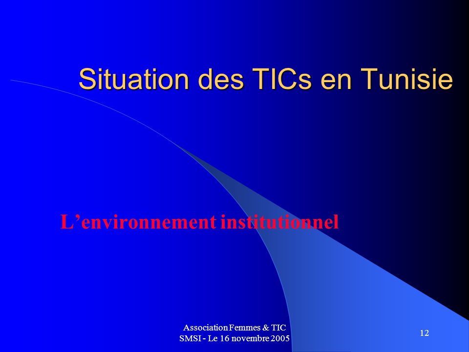 Association Femmes & TIC SMSI - Le 16 novembre 2005 12 Situation des TICs en Tunisie Lenvironnement institutionnel