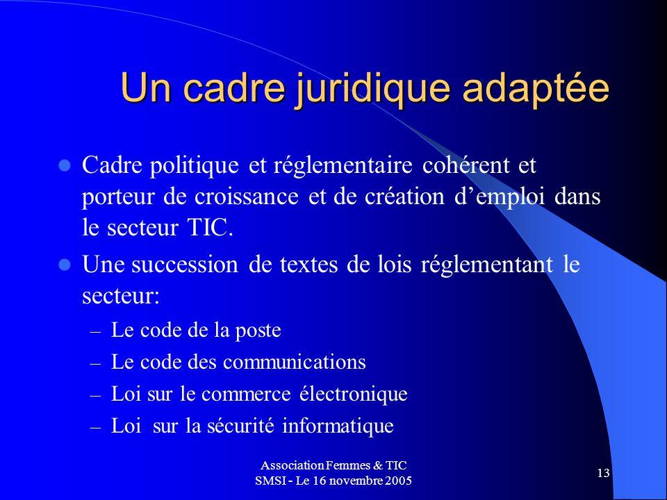Association Femmes & TIC SMSI - Le 16 novembre 2005 13 Un cadre juridique adaptée Cadre politique et réglementaire cohérent et porteur de croissance et de création demploi dans le secteur TIC.