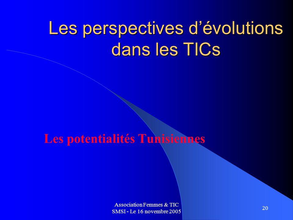 Association Femmes & TIC SMSI - Le 16 novembre 2005 20 Les perspectives dévolutions dans les TICs Les potentialités Tunisiennes