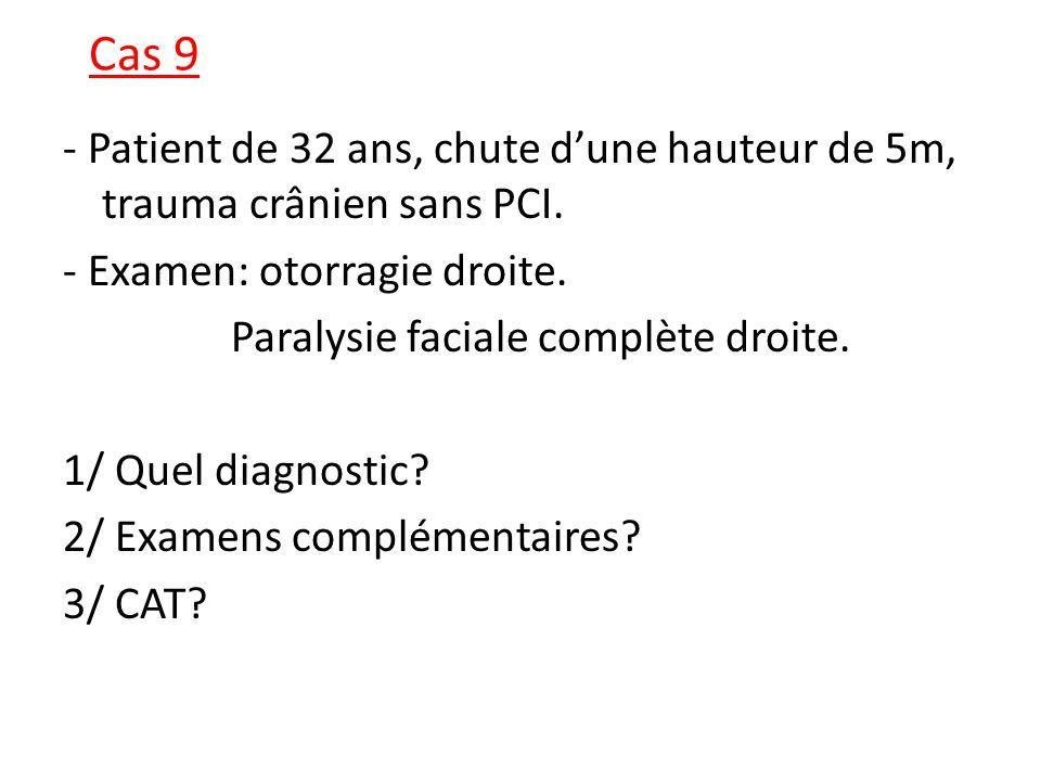 Cas 9 - Patient de 32 ans, chute dune hauteur de 5m, trauma crânien sans PCI. - Examen: otorragie droite. Paralysie faciale complète droite. 1/ Quel d