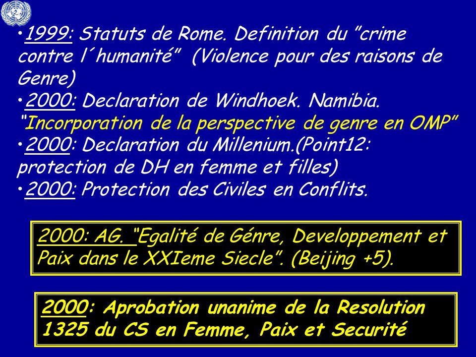 1999: Statuts de Rome. Definition du crime contre l´humanité (Violence pour des raisons de Genre) 2000: Declaration de Windhoek. Namibia.Incorporation