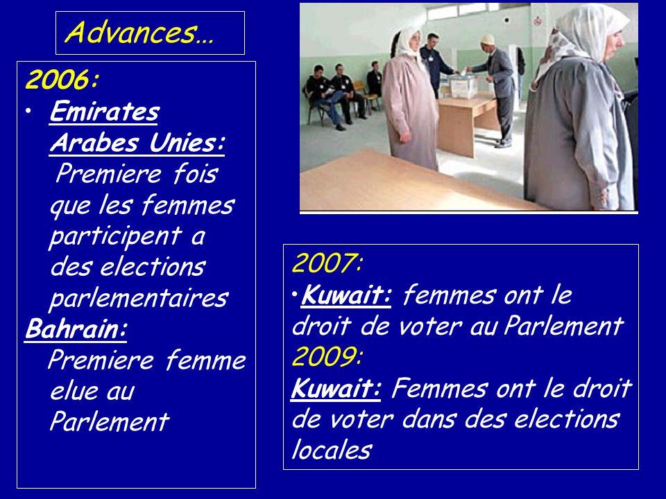 2007: Kuwait: femmes ont le droit de voter au Parlement 2009: Kuwait: Femmes ont le droit de voter dans des elections locales 2006: Emirates Arabes Unies: Premiere fois que les femmes participent a des elections parlementaires Bahrain: Premiere femme elue au Parlement Advances…
